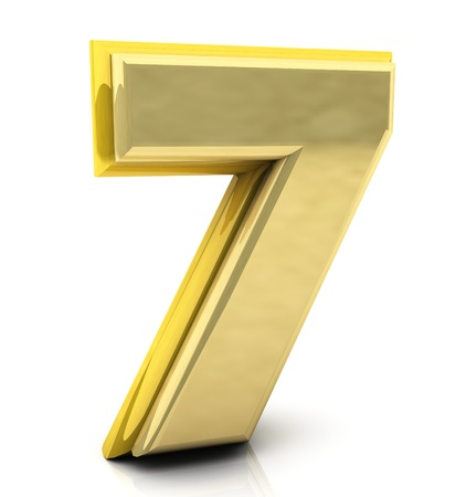 seven: 3d Number seven in gold on white background Stock Photo