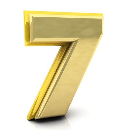 sept: Nombre 3d sept en or sur fond blanc