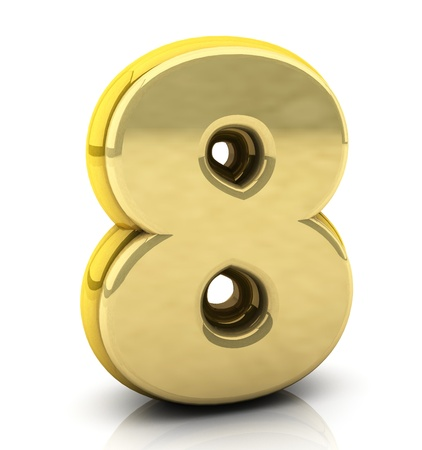 3d Number eight in gold on white background