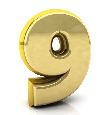3d Number nine  in gold on white background