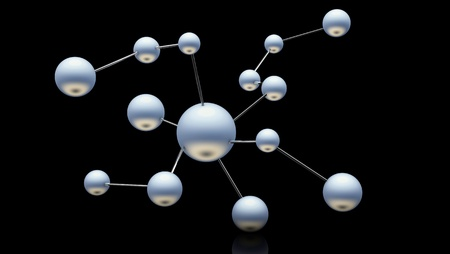 3d atom structure on black background Stock Photo - 18235345