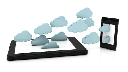 synchronizing: Concept of clouds coming off a tablet pc and entering a phone