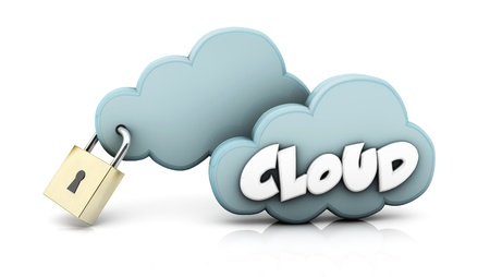 Clouds with a security lock in 3d Stock Photo - 18428589