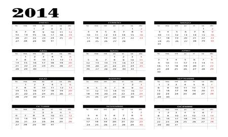 New calendar 2014 in spanish Stock Vector - 18872892