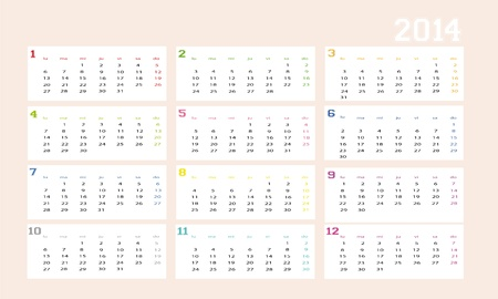 New calendar 2014 in spanish Vector