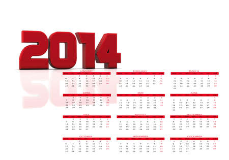 New calendar year 2014 in English photo