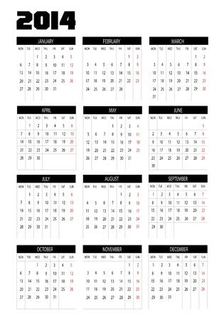New calendar 2014 in english Stock Vector - 18872896