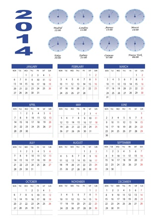 New calendar 2014 in english Stock Vector - 18872881