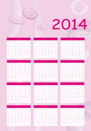 New calendar 2014 in english Stock Vector - 18872878
