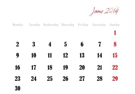 June 2014 in English Vector