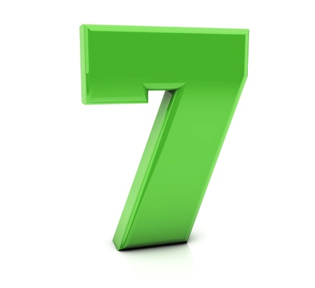 3d Number seven in green on white background photo