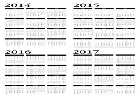 Calendar 2014 to 2017 Vector