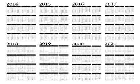 Calendar 2014 to 2021 Stock Vector - 19018299