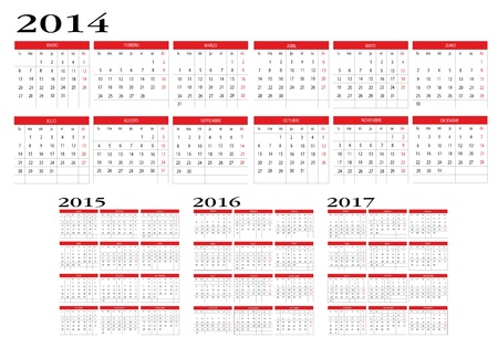 Calendar 2014 to 2017 Stock Vector - 19018284