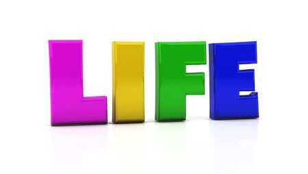 Word life in colors on white background photo
