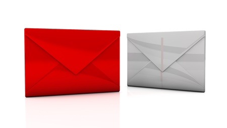 Two envelopes of white and red on white background