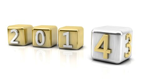 New year 2014 in cubes photo