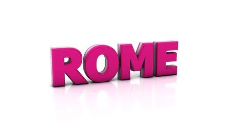 Word-rom in pink in 3d auf weißem Hintergrund