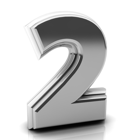 numeric: 3d Number two  in silver on white background Stock Photo