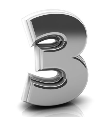 3d Number three  in silver on white background photo