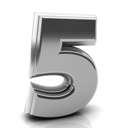 3d Number five in silver on white background photo