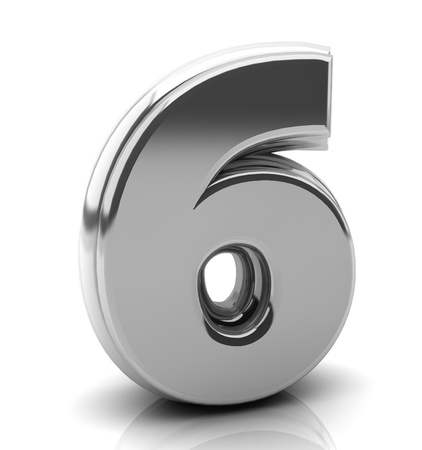 six objects: 3d Number six in silver on white background Stock Photo