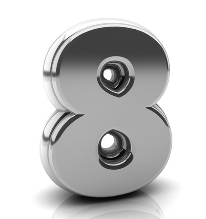 3d Number eight in silver on white background photo