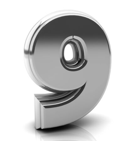 3d Number nine in silver on white background photo