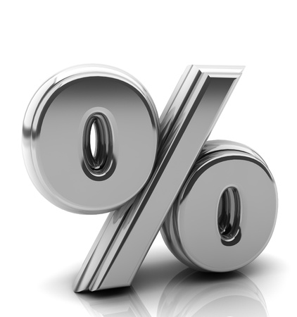 Render silver percentage symbol in 3d on white background