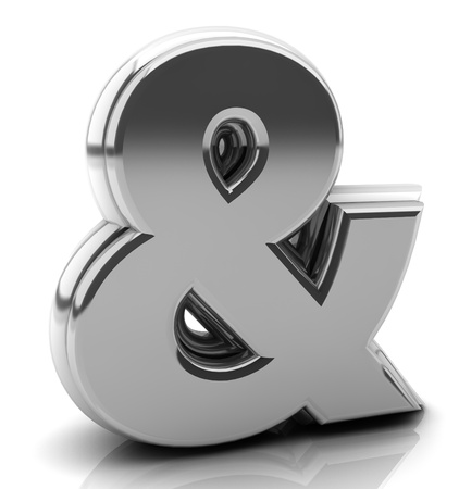 Render silver ampersand symbol in 3d on white background