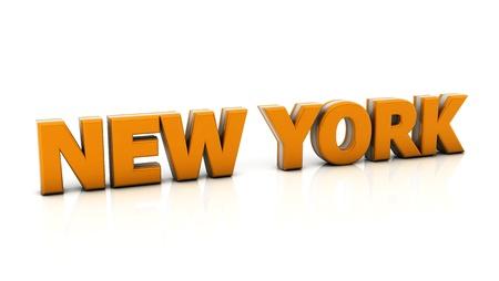 Wort new york in orange in 3d auf weißem Hintergrund Standard-Bild