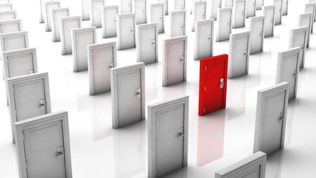 doorstep: Closed doors in white and one in red with reflection Stock Photo
