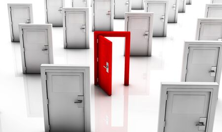 Closed doors in white and one in red open with reflection Stock Photo - 19553410