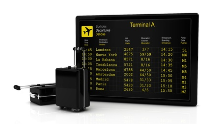 Departures information board flights along and suitcases in 3d on white background photo