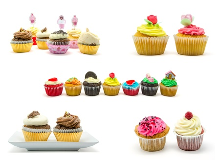 Collage of various colorful cupcake