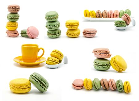 Collage of various colorful macaroons photo