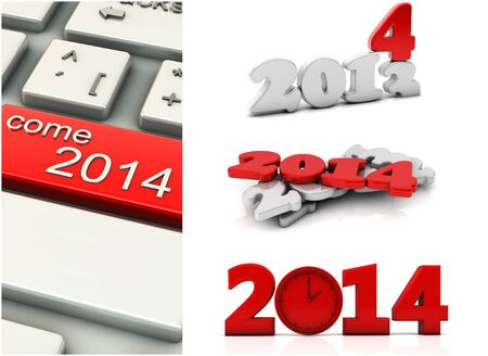 Collage of new year 2014 in 3d photo