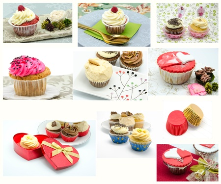 Collage of various colorful cupcake photo