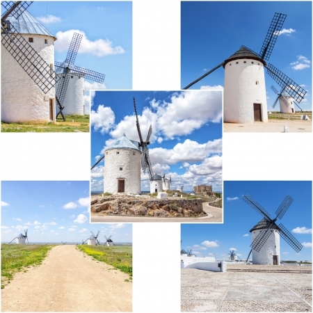 Collage of different photos of traditional wind mills photo