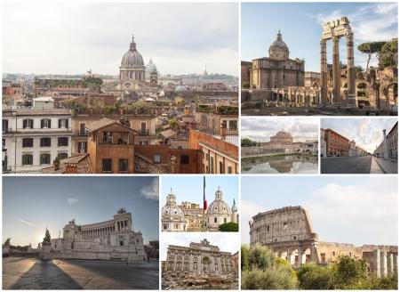 roma antigua: Collage de la fotograf�a monumentos de Roma