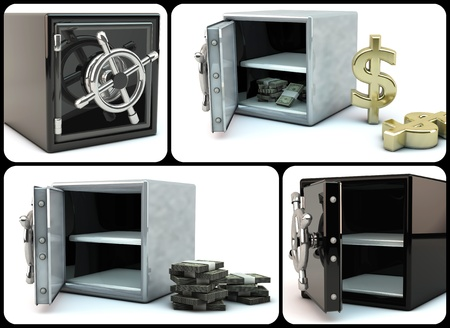 Collage of different safes images in 3d photo