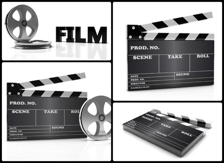 collage of different images of cinema clapboard and film photo