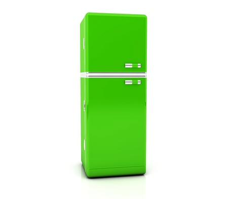 3d green refrigerator on white backgrpund photo