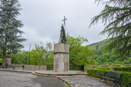 covadonga: King Pelayo (Christian king of Asturias) in Covadonga,Asturias Stock Photo