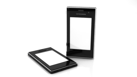 3d Two mobile with white screen on white blackground Stock Photo - 20872391