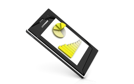 3d yellow graphic on a cell phone on white background photo