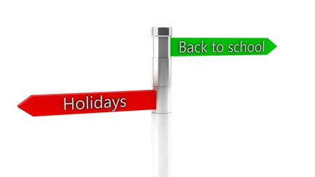3d green back to school and red holidays sign on white background photo