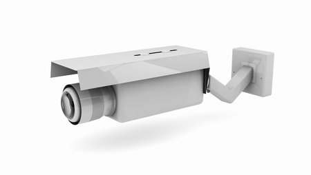 3d white security camera on white background photo