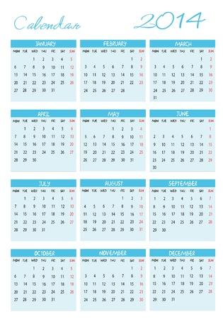 Calendar 2014 in english Vector