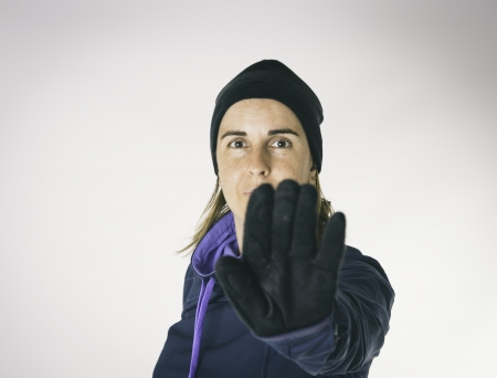 Girl with outstretched hand in the foreground Stock Photo - 21361730